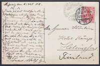 DR Mi Nr. 86 I EF auf alter AK Leipzig Napoleonstein n. Finnland 1908 Germania