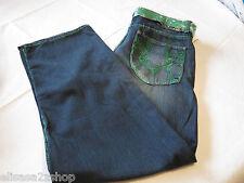 Mens Men's Old Skool cotton jeans 36 MD292 dark blue pants with green belt NWT#