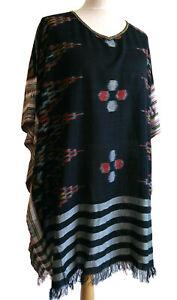 Boho Traditional Bali Ikat Cotton Tunic Top Poncho Cool Kaftan Summer Cover Up