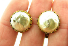 Vintage Miriam Haskell Signed Baroque Pearl Button Earrings
