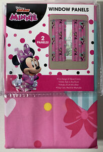 Disney Junior Minnie Mouse Window Panels (2 Curtains) New Fits 36 To 48in Window