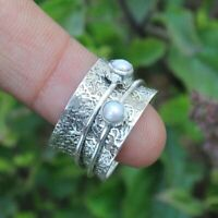 Pearl Solid 925 Sterling Silver Spinner Ring Meditation Ring statement Ring sr25