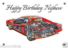 Ferrari Personalised Hand Made Printed Card, any name, age, relation