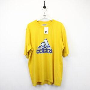 Mens Vintage ADIDAS 90s T-Shirt Big Logo Yellow | XL