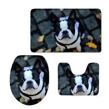 Boston Terrier Toilet Seat Lid Cover 3pcs Contour Rug Cushion Bathroom Floor Mat