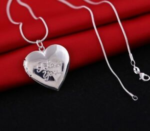 GOKING Love Heart Locket Necklace That Holds Pictures Engraved I Love You to The Moon and Back Photo Lockets