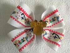 "Girls Hair Bow 4"" Wide Disney Ribbon Pink Edging Yellow Minnie French Barrette"