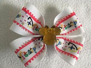 """Girls Hair Bow 4"""" Wide Disney Ribbon Pink Edging Yellow Minnie French Barrette"""