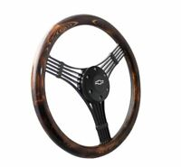 "14"" Matte Black Steering Wheel Flamed Pine Banjo 1/2 Chevy Horn Button"