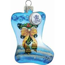 G.Debrekht 739122 Holiday Splendor Glass Bow Stocking 3.5 in. - Glass Ornament