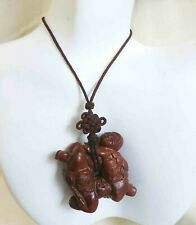 Rare Vintage Chinese Sexual Erotic Carved Wood Endless Knot Pendant Necklace 30""