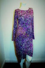 NEW INDAH HIGH LOW PRINTED  DRESS  FORM-FITTING LONG SLEEVE SCOOP TAIL SIZE S