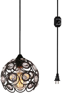Surpars House Plug-in Crystal Pendant Light with 15' Cord, Dimmer Switch in