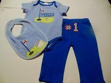 "Baby Boys 3pc Outfit ,3-6M,NWT, Bodysuit/Pants/Bib, Blues, ""Daddy's #1 Caddy"""