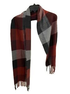Goodfellow & Co. 100% Acrylic Plaid Fall Color Scarf Red and Gray