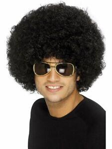 Smiffys Mens Funky Afro Wig 70s Retro Disco Costume Hair Black