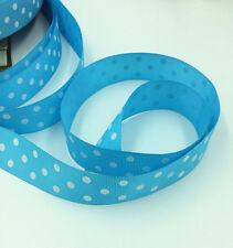 "Blue 5 Yards 1""( 25mm)  printed lot large dots Grosgrain Ribbon lot"