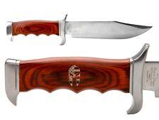 Elk Ridge Knife Hunting Fixed Blade Full Tang Wood Er-012 Spartan Helmet Flag