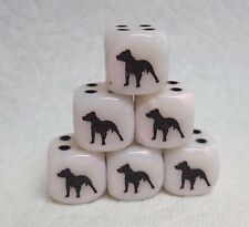 DICE>>>*6/SET* CHX CUSTOM PIT BULL TERRIERS ON 16mm MOTHER-OF-PEARL w/BLACK PIPS