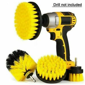 Drill Scrub Brushes Power Scrubber 3pc Bathroom Kitchen Tile Car Cleaning NEW