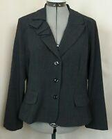Danny & Nicole Blazer-14 Petite-Dark Gray-Long Sleeve-Dressy-Short Jacket-Lined