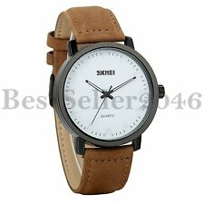 Men Unisex Brown Leather Band Analog Wrist Watch Casual Simple Design White Dial