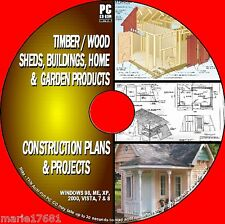 OVER 1000  DIY WOOD PLANS & PROJECTS WOODEN SHED GREEN & WENDYHOUSES  PC CD NEW