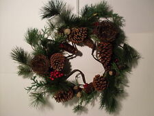 """22"""" WREATH~NEW~CHRISTMAS BIRDNEST PINECONE BERRY NATURAL LOOK DOOR WALL TABLE PC"""
