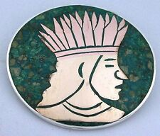 STERLING SILVER MALACHITE COPPER AZTEC WARRIOR PIN BROOCH PENDANT ebs5199
