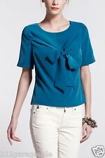 NWT NEW Anthropologie Lula's Bowtied Tee Blouse by Nadinoo Size 4 Small Blue