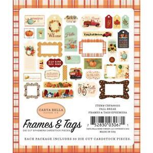 Fall Autumn Tags & Frames Paper Die Cuts Ephemera Carta Bella CBFA88025 New