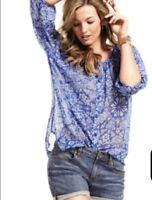 CAbi Top Womens XS 3/4 Sleeve Peasant Top #318 Blue Floral Semi Sheer Boho Tunic