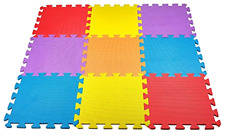 Safety Floor Play Mat for Kids Solid Foam Exercise Puzzle Mats 10 Square Ft.