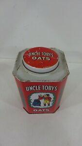 Uncle Toby's oats tin,octagonal shape,recipe panels.Anzac biscuits,Muesli bread