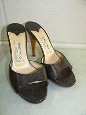 Jimmy Choo Black Leather High Heel Peep Toe Women Size 37/7B Made in ITALY
