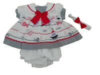 BNWT  Baby Girls summer red or navy sailor dress set  & hairband NB 0-3m 3-6 mth