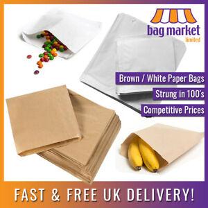 Brown / White Strung Paper Bags!   Food Use/Sandwich/Takeaway/Grocery/Fruit/Veg