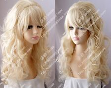 Cos Fashion light blonde  long curly  cosplay full Heat-Resistant wig