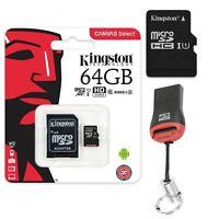 64GB MicroSD Speicherkarte Micro SDXC Kingston SD Adapter + USB Kartenleser