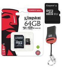 64GB Scheda di Memoria MICROSD SDXC Kingston SD Adattatore + USB Lettore