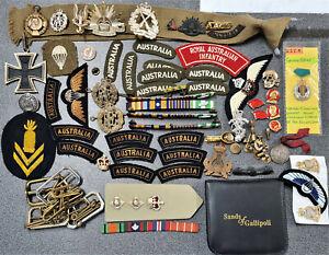 AUSTRALIAN ANZAC WW1 WW2 VIETNAM WAR UNIFORM COLLAR BADGES MEDAL BARS ETC