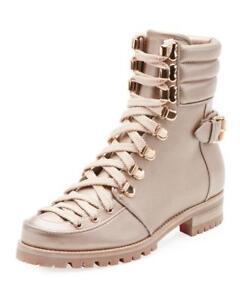 Christian Louboutin WHO RUNS FLAT Metallic Leather Hiking Combat Boots $1595