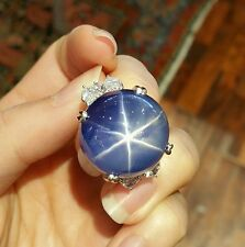 101.55 ct Ceylon Star Sapphire & Diamond Ring in Plat- Unheated w/GIA - HM1522