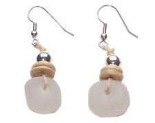 ECLECTIC, STYLISH EARRING CRYSTAL QUARTZ STONE & HANDTIED PLATES (ZX54)