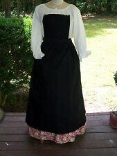 Civil War Dress Victorian Colonial Ladys Black 100% Cotton Pinner~Bib Apron-Plus
