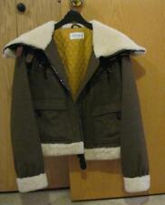 ALLEGRI Brown Wool Women M Medium Bomber SHORT COAT JACKET fleece cuff hood