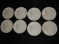 """8 Royal Palatine Germany 6"""" Bread Butter Plates W/ Pink Gray Leaves & Gold Trim"""