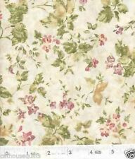 Floral Calligraphy Ivy & Flowers Cream Quilt Fabric - Free Shipping - 1 Yard