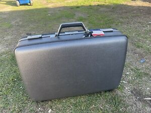 "VTG American Tourister Tiara Grey Suitcase Hard Shell 2 Keys & Combo Lock 24"""