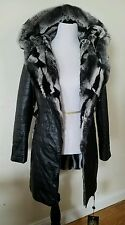 NWT Women's ladies real Leather natural Fur lining Coat Jacket Hood Size M